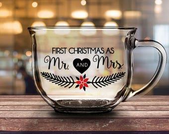 First Christmas as Mr & Mrs - 16 oz CLEAR GLASS MUG - wife gift, christmas gift, newlywed gift