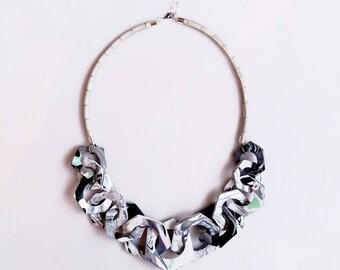 Bib Statement Necklace, Chunky Marble Necklace, Geometric Link Necklace, Black White Modern Geometric Necklace