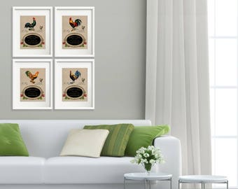 French Country Rooster - Set of 4 Art Prints 8x10, French Country Farmhouse Rooster Kitchen Decor, Dining Room Art