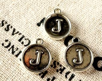 Alphabet letter J charm silver vintage style jewellery supplies