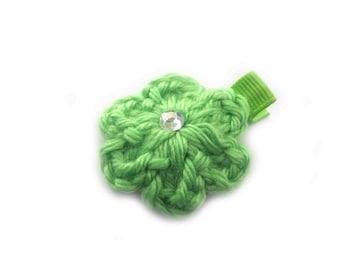 Lime Green Hair Clip Lime Hair Clip Crochet Flower Hair Clip Baby Girl Hair Clip Toddler Girl Hair Clip Spring Hair Clip Summer Hair Clip