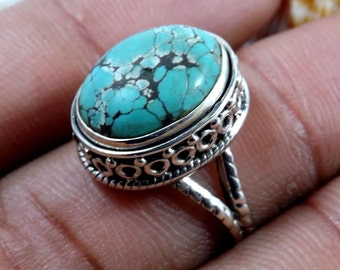 Tibet Turquoise Ring, Tibet Turquoise Gemstone, Turquoise Ring, Designer Ring, Handmade RIng, Unique Ring,Gemstone Jewellery, Gift For Her