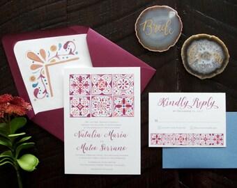 Natalia Painted Spanish Tiles Wedding Invitation Suite
