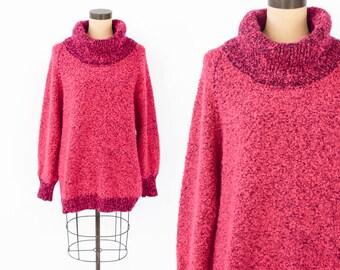 80s Pink Sweater | Hot Pink Chunky Turtleneck Oversized Sweater | Medium