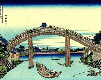 Katsushika Hokusai: Under Mannen Bridge at Fukagawa. Thirty-six Views of Mount Fuji No 6. Fine Art Print/Poster. (004367)