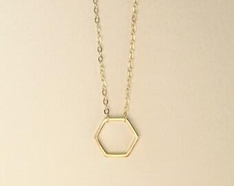 Gold Hexagon Pendant Necklace