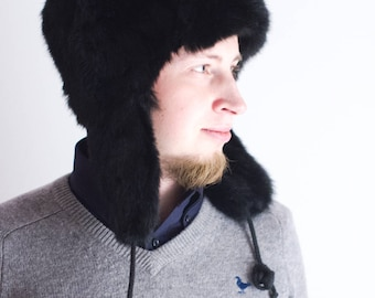 Fur Trapper Hat, Real Fur Hat, Hat with ear flaps, Fur Trapper Hat,  Winter Fashion, Christmas Hat, Fur hat for him, Classic Winter Hat