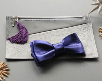 Anniversary gifts / Couple gift / Wedding gift / Genuine leather / Leather wallet / Card holder / Clutch bag / Leather bow tie / Purple bow