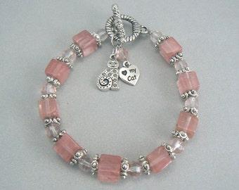 Cat Charm Beaded Bracelet with Cherry Quartz