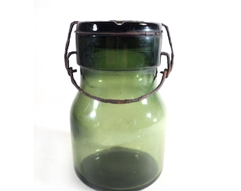French Green Glass Jar, Preserving Canning Jar w/ Handle