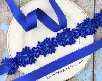 Royal Blue Beaded Lace Sash, Royal Blue Lace Headband ,  Bridal Headband, Bridesmaid Sash, Flower Girl Sash