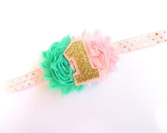 Pink 1 headband - Pink gold 1 headband - #1 birthday bow - Pink gold first birthday - #1 first birthday headband