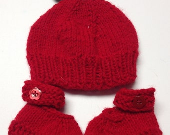 Red Apple Baby Hat with Mary Jane Booties