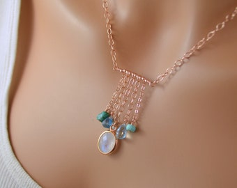 Boho Necklace, Rose Gold Jewelry, Rainbow Moonstone, Real Turquoise, Swiss Blue Topaz, Pink Gold, Bezel Gemstone Pendant, Free Shipping