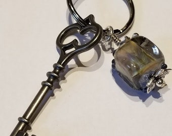 Keychain, Handmade Artsy Glass Bead, w/ a Skeleton Key
