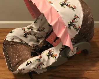 Faux deer hide fur skin &  rustic floral deer head sillouett baby infant carseat cover with free monogram and minky strap covers