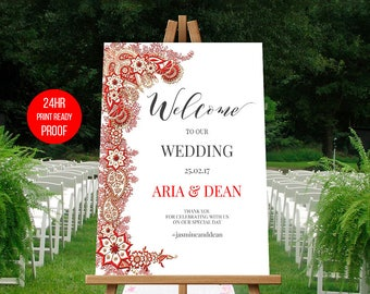 Mehndi Ceremony Cards : Indian wedding sign printable welcome