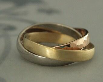 Rolling Ring~18K Interlocking Band~Tricolor Ring~Russian Wedding Band~Russian Wedding Ring~Rolling Band~Puzzle Ring~Gold Interlocking Ring