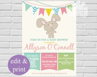 Baby Shower Bunny Invitation,Cute Rabbit Toy Baby Shower Invite- INSTANT DOWNLOAD Edit with Acrobat Reader and Print at Home