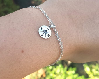 Compass bracelet,silver or gold,compass friendship bracelet,bridesmaid gift,graduation gifts,custom jewelry card
