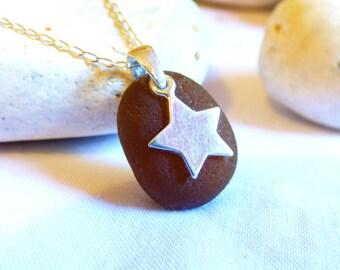 Star Pendant, Sea Glass Pendant, Sterling Silver Star, Brown Sea Glass, Brown Glass Pendant, Brown Star Pendant, Sea Glass Jewelry - PE16026