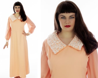60s Formal Dress Mod Peach Cocktail Gown With Rhinestone Embroidered Flower Details Maxi Mad Men Hostess L XL Plus Size