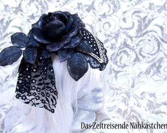 Fascinator , Kopfschmuck, Headdress in schwarz-silber, Gothic, Steampunk, Burlesque