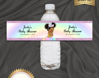 Printable Unicorn Baby Shower Water Bottle Labels, Little Girl, Puff Hair Baby Girl - Digital File, EDITABLE text Microsoft® Word, BS27