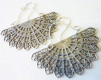 Silver Filigree Earrings, Handmade Sterling Silver Wires and Components, Art Deco, Boho Retro, Fan Dance Earrings