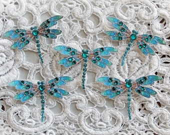 Reneabouquets Tiny Treasures Handcrafted Dragonfly Set- Teal Jewelry Dragonflies