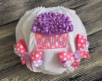 Birthday Cupcake Diaper Cover, Personalize Birthday Bloomer, First Birthday Cake Smash, Baby Girl 1st Birthday Bloomer, Hot Pink Lavender