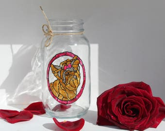 hand painted yorkie dog portrait on glass jar with a stained glass look