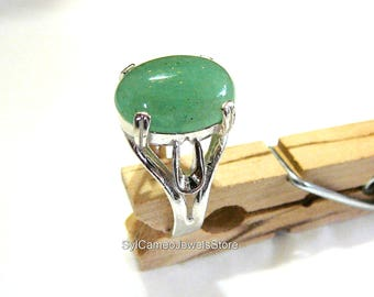 Statement Ring Sterling Silver Green Aventurine Gem by SylCameoJewelsStore