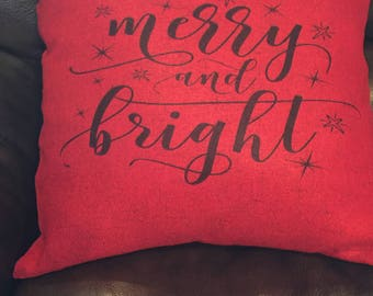 Red Merry & Bright Christmas pillow