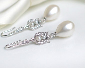 Teardrop Pearl Earrings   Large White Freshwater Pearls CZ Pavé Sterling Silver Dangles   Vintage Inspired   Tulip Roses   Ready to Ship