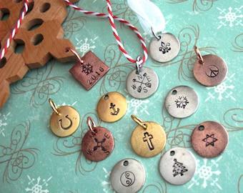 "Holiday Ornament tags. Custom charms. Mini 1/2"" Disc, little silver, copper or gold circles. Christmas Hanukkah Kwanzaa Ramadan Yule Jesus"