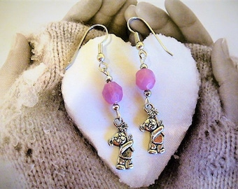Alabaster pink bear tenderness and pearl earrings for children and adults