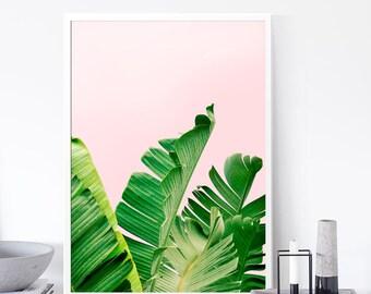 Banana Leaf Print, Leaf Print, Palm Leaf, Tropical Poster, Download, Summer Print, Summer Art, Tropical Art Print, Palm Tree Print Art