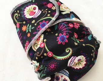 One Size Fitted Hybrid Cloth Diaper Dia de los Muertos Calaveras