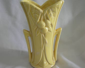 Yellow Bud Vase | Made in USA by McCOY | Cherry or Berry Leaf Motif | Vintage Mid Century
