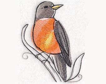 Robin en torchon aquarelle | Broderie serviette de cuisine | Broderie torchon | Personnalisé torchon | Brodé serviette | Serviette de toilette