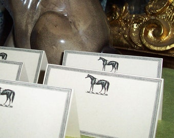 Horse Place Cards, Escort Cards, Wedding Seating Cards Set 60 Vintage Inspired Equestrian Pony Rustic Reception Country Barn Wedding Cream