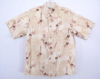 Vintage 1950s Men's Hawaiian Shirt 50s Cotton Tiki Novelty Print Aloha Tropical Size Large