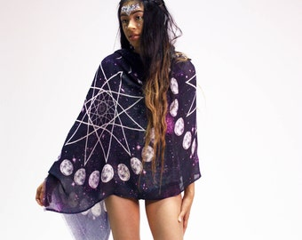 Moon Phase Scarf - Pentagram Grid - Statement Scarf - Bohemian Clothing - Wicca - Moon Scarf - Festival Clothing