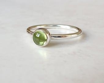 Sterling Silver Peridot Ring - Peridot Stacking Ring - Silver Stacking Ring - August Birthstone Ring - Green Gemstone Ring