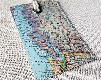 Vancouver British Columbia Canada luggage tag made with original vintage map