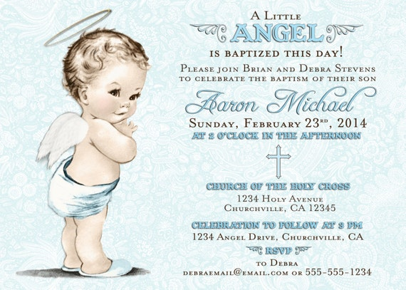 Baptism Invitation For Boy Christening Invitation For Boy
