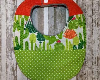 Bright Green Cactus Bib | Gender Neutral  Bib | Large Baby Bib