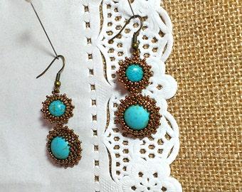 Unusual earrings Stone Howlite Beading technique Jewelery Boho style Handmade earrings