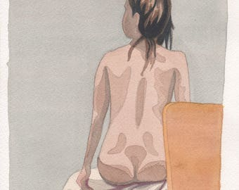 Woman's Back Watercolor Painting One of A Kind